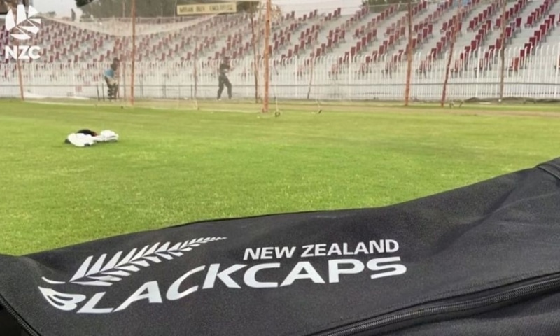 New Zealand Black Caps cricket team practices in Pakistan in this undated handout image taken from video. — Reuters