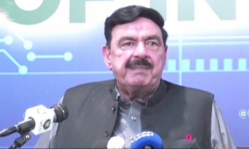 Interior Minister Sheikh Rashid Ahmed addresses a press conference in Islamabad on Monday. — DawnNewsTV