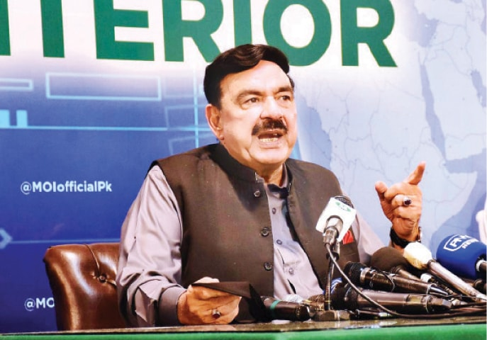 Interior Minister Sheikh Rashid Ahmed speaks at a press conference on Monday. — APP