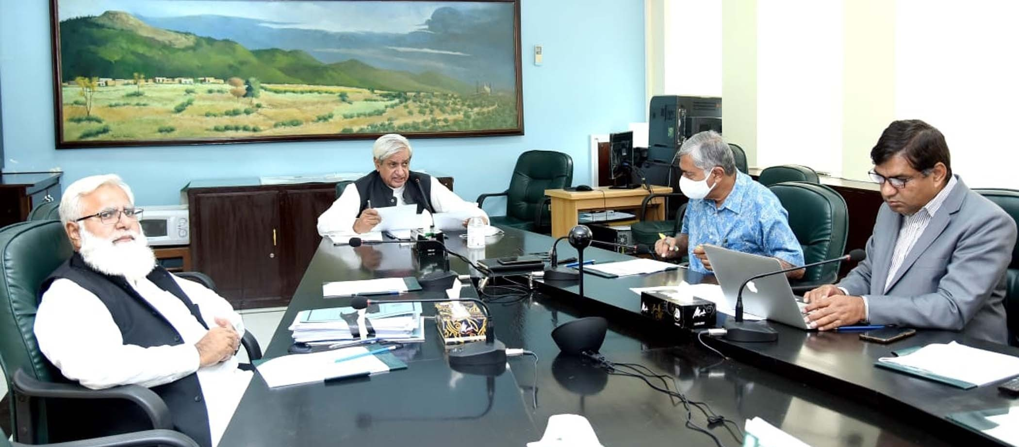 Minister for National Food Security and Research Syed Fakhr Imam chaired a meeting to review cotton production in the country. — Photo courtesy: PID