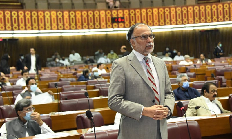 PML-N leader Ahsan Iqbal speaks during the National Assembly session on Monday. — Photo courtesy NA Twitter