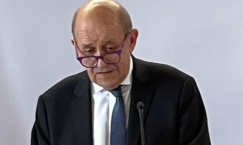 French Foreign Minister Jean-Yves Le Drian speaks during a news conference, on the sidelines of the 76th Session of the UN General Assembly on September 20. — Reuters