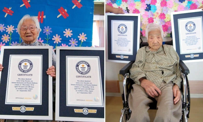 This combination of two undated photos released by Guinness World Records show sisters Umeno Sumiyama, left, and Koume Kodama at separate nursing homes in Shodoshima island, left, and Oita prefecture, Japan. — AP