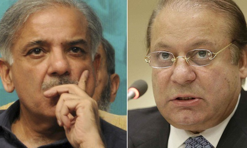 A combination photo of PML-N President Shehbaz Sharif (L) and PML-N supremo Nawaz Sharif. — AFP/Reuters