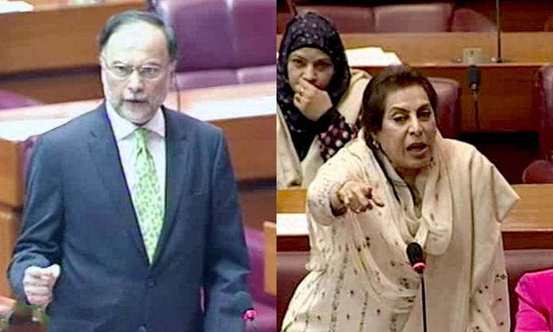 PML-N leader Ahsan Iqbal (L) and Minister for Inter Provincial Coordination Dr Fehmida Mirza address the National Assembly. — DawnNewsTV/File
