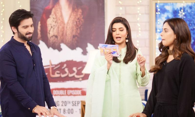 منیب بٹ اداکارہ امر خان کے ہمراہ پروگرام میں شریک ہوئے—فوٹو: گڈ مارننگ پاکستان، فیس بک