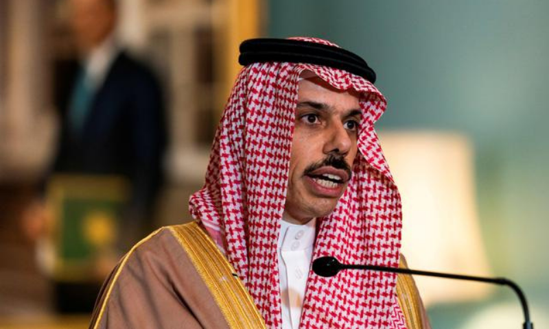 In this file photo, Saudi Minister of Foreign Affairs Prince Faisal bin Farhan Al Saud speaks during a meeting with US Secretary of State Mike Pompeo, at the State Department, in Washington. — Reuters/File