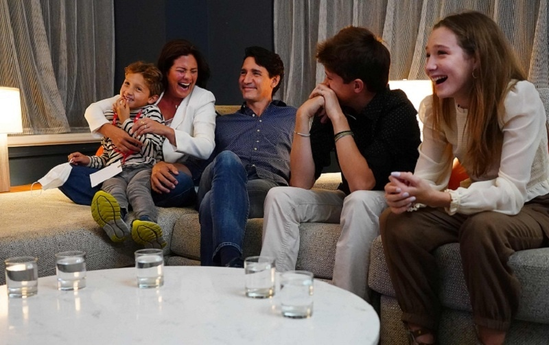 Canadian Prime Minister and Liberal leader Justin Trudeau (C) watches election results with wife Sophie Gregoire-Trudeau and children, Xavier, Ella-Grace and Hadrien, at Liberal headquarters in Montreal on Sept 20, 2021. — AFP