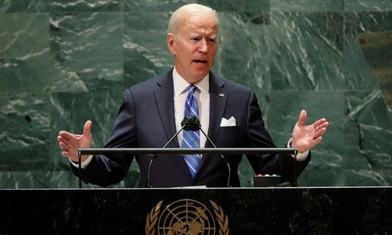 امریکی صدر جو بائیڈن اقوام متحدہ کی جنرل اسمبلی سے خطاب کر رہے ہیں - فوٹو:رائٹرز