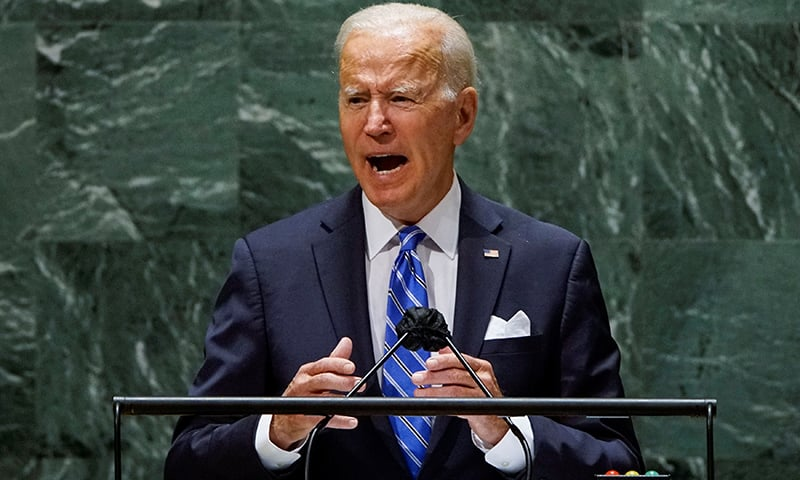 US President Joe Biden addresses the 76th Session of the UN General Assembly in New York City, US, September 21. — Reuters