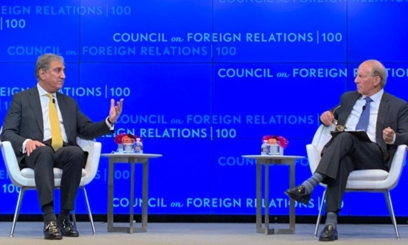Foreign Minister Shah Mahmood Qureshi speaks at the Council on Foreign Relations during his trip to New York. — Photo courtesy: Twitter