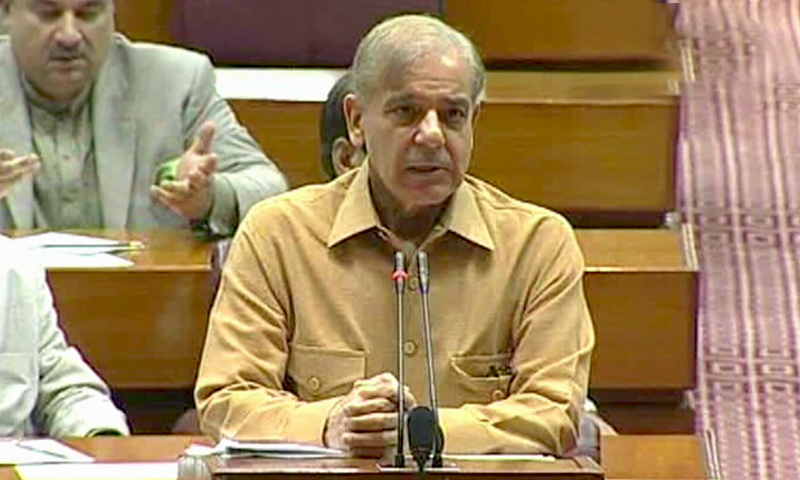In this file photo, Leader of the Opposition Shehbaz Sharif speaks in the National Assembly.— DawnNewsTV/File