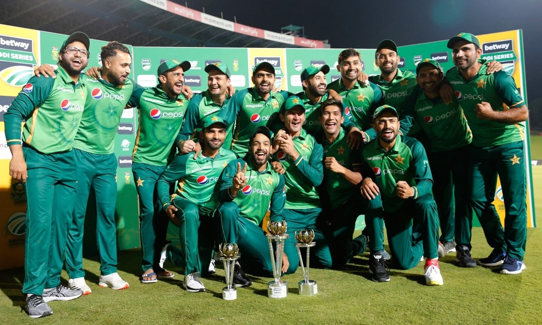 In this file photo, the Pakistan team pose for a photograph after winning the series after the third one-day international (ODI) match between South Africa and Pakistan at SuperSport Park in Centurion on April 7. — AFP/File