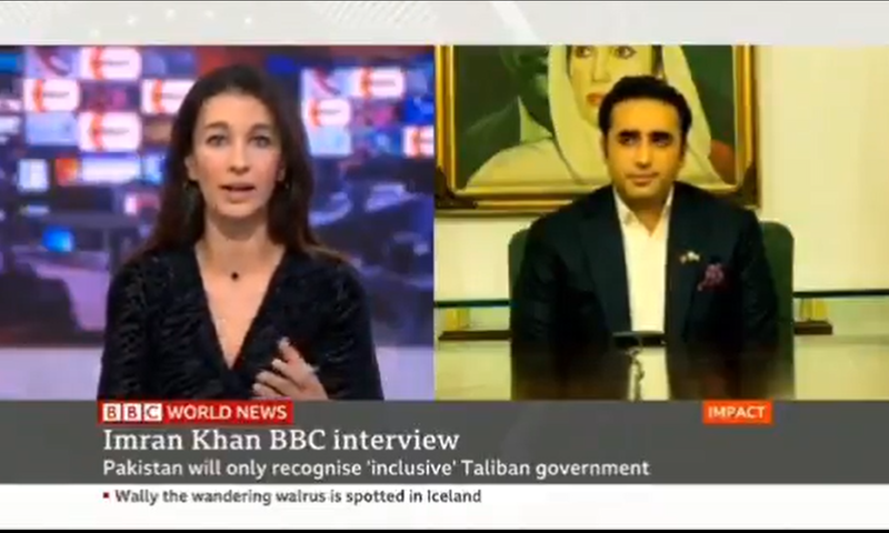 This screengrab shows PPP Chairperson Bilawal Bhutto-Zardari during an interview with BBC. — Photo courtesy Yalda Hakim Twitter