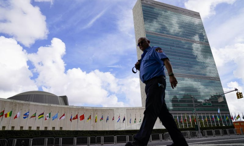 A member of the FDNY passes outside the United Nations headquarters during the 76th Session of the UN General Assembly in New York, US, on September 21. — AP