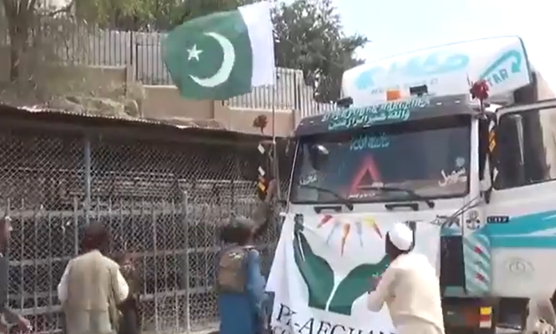 This image shows the Pakistan flag mounted on an aid truck carrying necessary food items. — Photo courtesy: Twitter
