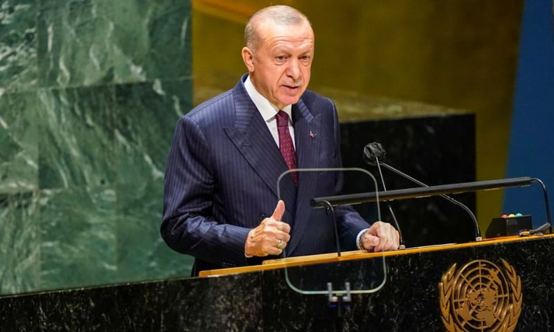 Turkish President Tayyip Erdogan speaks during the 76th Session of the General Assembly at UN Headquarters in New York, US, on September 21. — Reuters