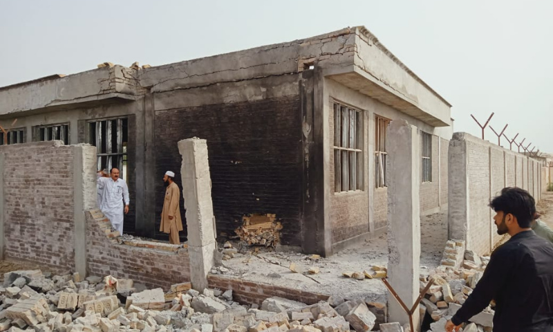 This picture shows the damaged girls' middle school in Khyber Pakhtunkhwa's Tank district. — Photo provided by author