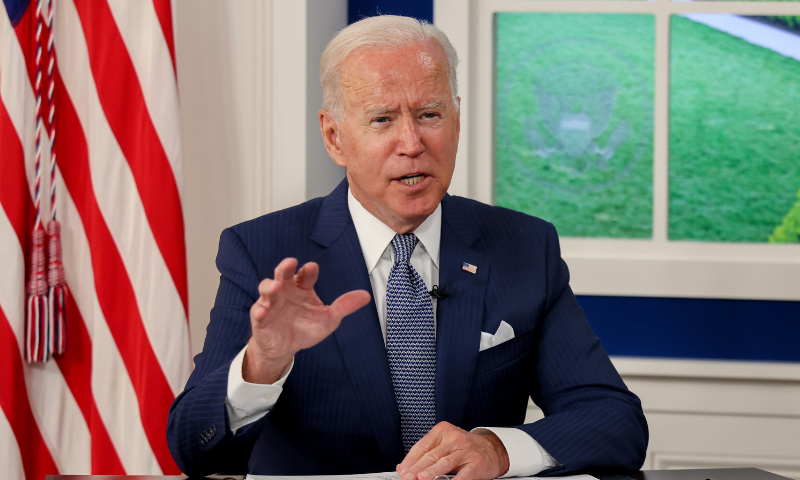 US President Joe Biden hosts a virtual coronavirus summit as part of the United Nations General Assembly (UNGA) from the South Court Auditorium in the White House complex in Washington. — Reuters