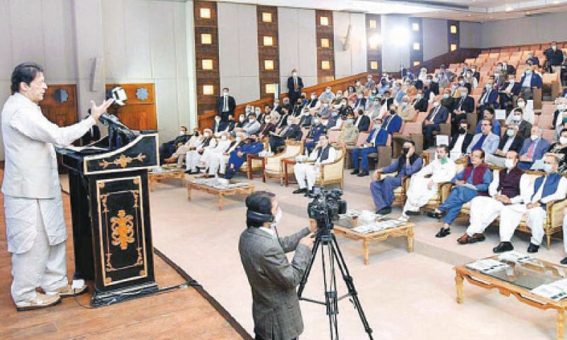 ISLAMABAD: Prime Minister Imran Khan speaks at the performance agreements signing ceremony on Wednesday.—APP