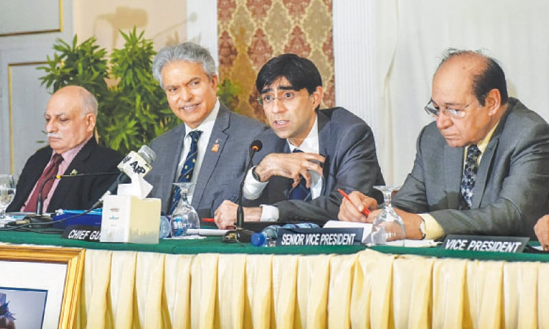 NSA Dr Moeed Yusuf speaks  at the event on Wednesday. —White Star