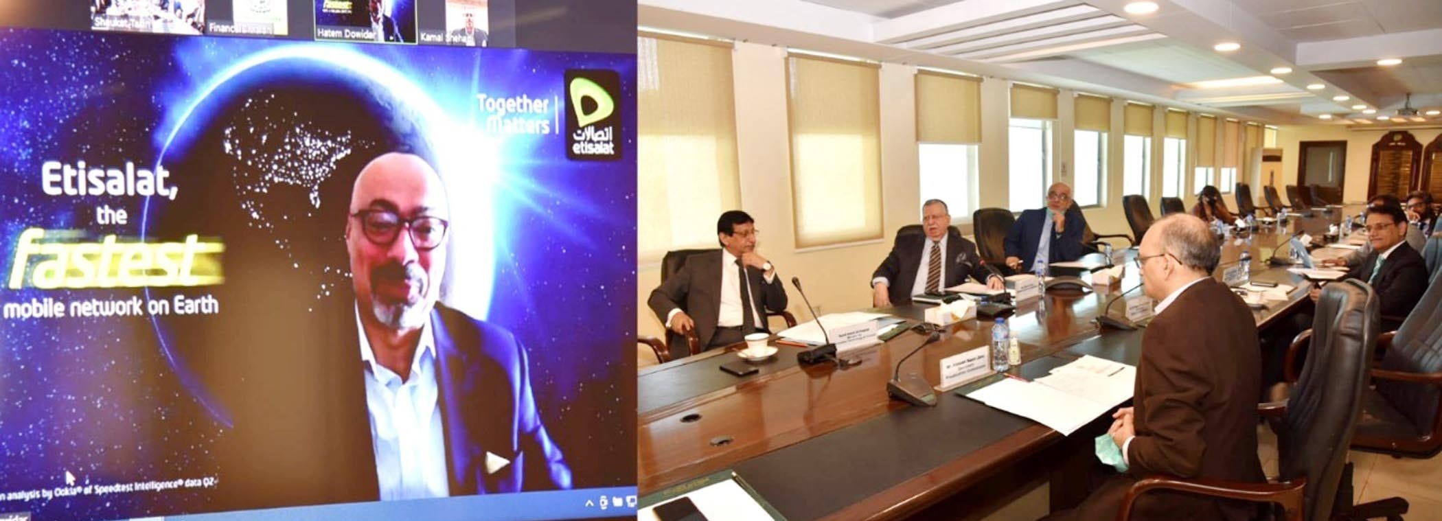 Finance Minister Shaukat Tarin holds a virtual meeting with Group CEO Etisalat International Hatem Dowidar at the Finance Division on Wednesday. — Photo courtesy: PID