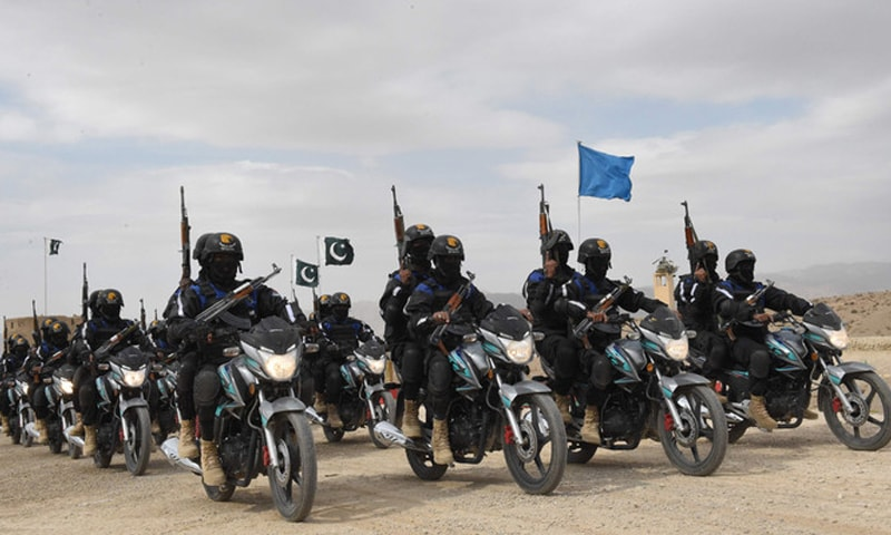 This file photo shows members of Eagle Squad taking part in a passing out parade in Quetta. — AFP/File