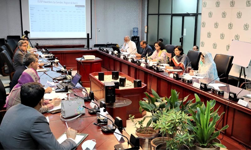 Special Assistant to the Prime Minister on Poverty Alleviation and Social Protection Dr Sania Nishtar presides over a meeting of the steering committee of Ehsaas Undergraduate Scholarship Programme on Wednesday. — Photo courtesy PID website