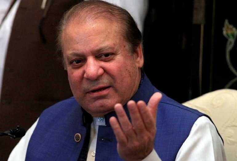 Nawaz Sharif, former Prime Minister and leader of Pakistan Muslim League (N) gestures during a news conference in Islamabad, Pakistan May 10, 2018