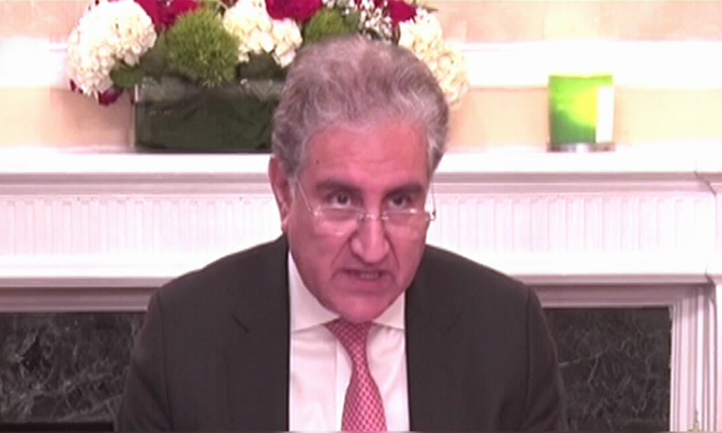 Foreign Minister Shah Mahmood Qureshi addressing the meeting of the Organisation of Islamic Cooperation (OIC) Contact Group in New York on Thursday. — APP screengrab/Twitter