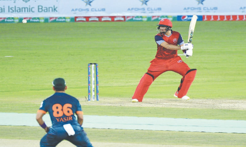 RAWALPINDI: Northern's Haider Ali goes on the attack during his undefeated half-century in the National T20 Cup match against Balochistan at the Pindi Cricket Stadium on Thursday.—Tanveer Shahzad/White Star