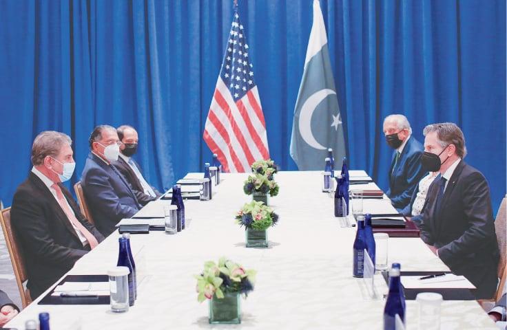 NEW YORK: US Secretary of State Antony Blinken meets Foreign Minister Shah Mahmood Qureshi on Thursday.—AP