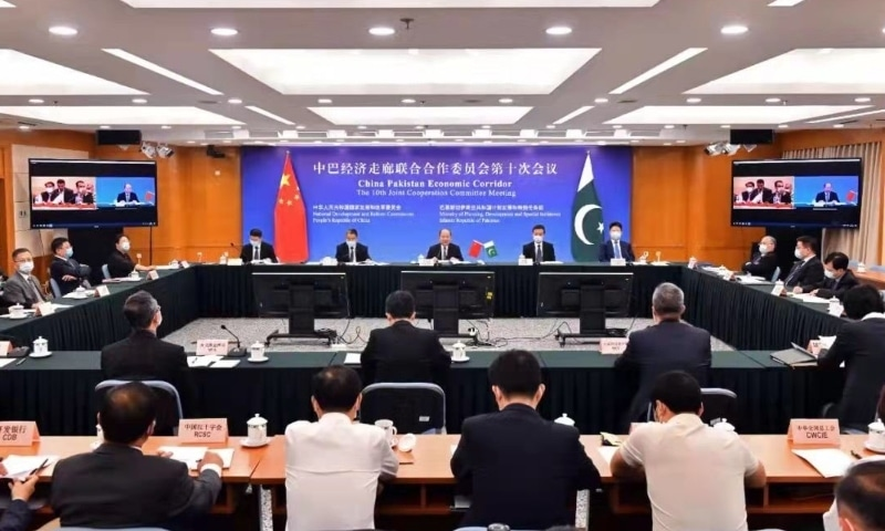 The  Joint Coordination Committee of China-Pakistan Economic Corridor met on Thursday. — Photo courtesy: Ambassador Nong Rong Twitter