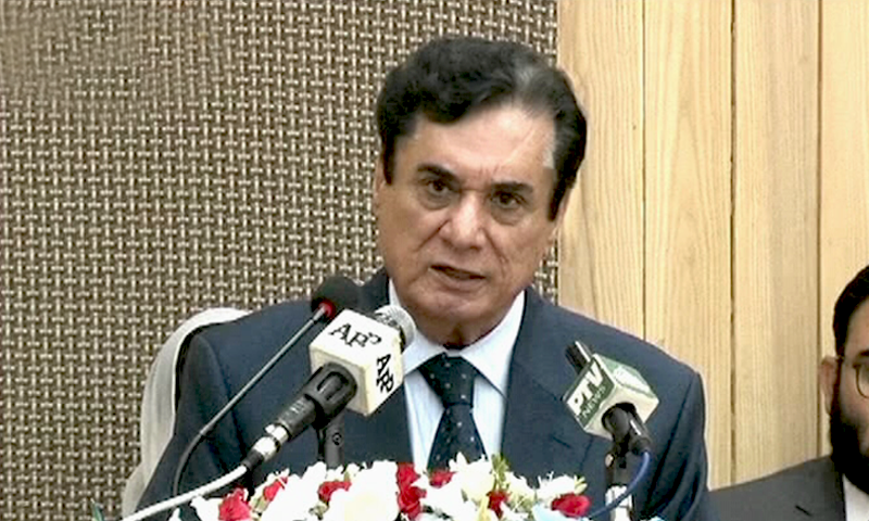 In this file photo, National Accountability Bureau (NAB) Chairman retired Justice Javed Iqbal speaking at a ceremony in Islamabad. — DawnNewsTV/File