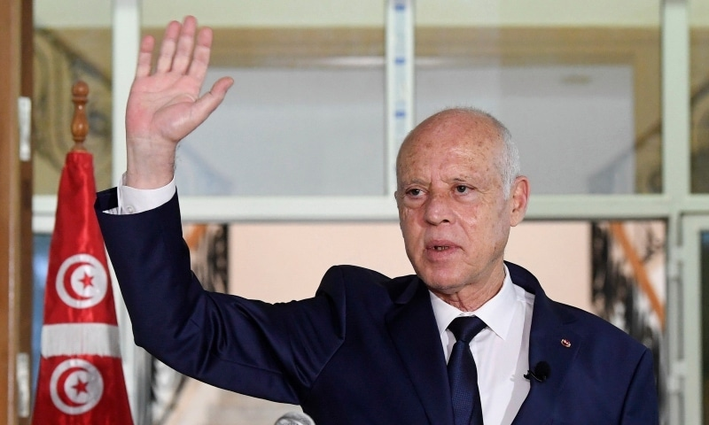 In this Sept 20 photo, Tunisian President Kais Saied delivers a speech during his visit to Sidi Bouzid. — AP