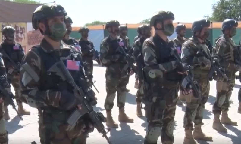 The opening ceremony of the Joint Anti-Terrorist Exercise (JATE) 2021 was held at the National Counter Terrorism Centre in Pabbi on Thursday. — Screengrab courtesy: Radio Pakistan