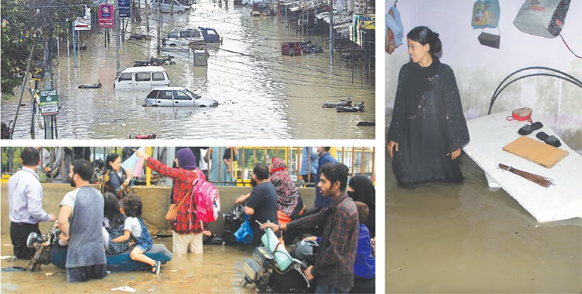 (CLOCKWISE) Small vehicles are almost submerged by rainwater flooding the North Karachi area; a woman stands in knee-high water in her Yousuf Goth house; men, women and children stranded on both sides of the road divider's iron grills struggle to cross over to the other side at Nagin Chowrangi on Thursday.—APP/Shakil Adil
