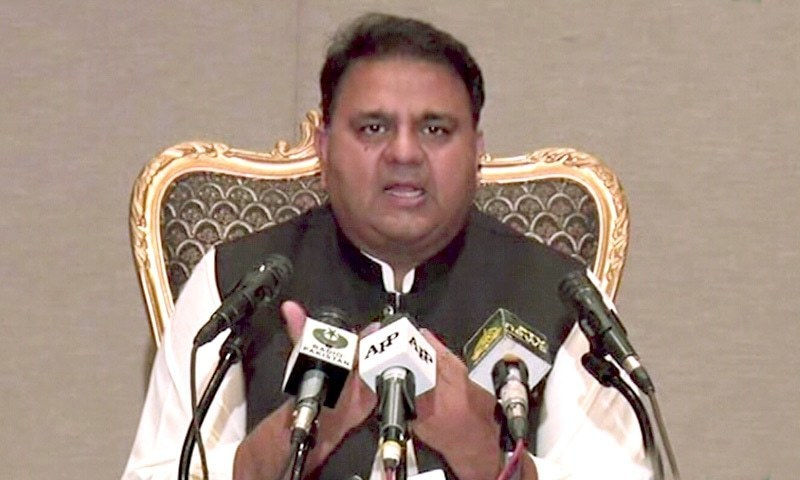 In this file photo, federal Minister for Information and Broadcasting Fawad Chaudhry addresses a press conference in Islamabad. — DawnNewsTV/File