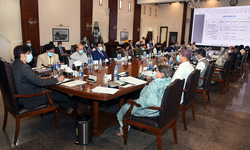 Sindh Chief Minister Syed Murad Ali Shah presides over a meeting of the provincial cabinet on Thursday. — Photo courtesy Sindh Chief Minister's House Twitter