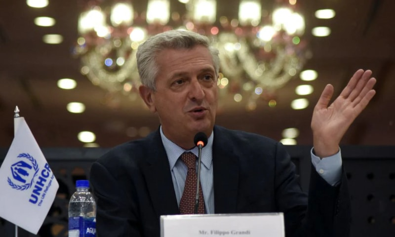 United Nations High Commissioner for Refugees Filippo Grandi gestures as he speaks during a news conference in Islamabad on September 17. — Reuters/File