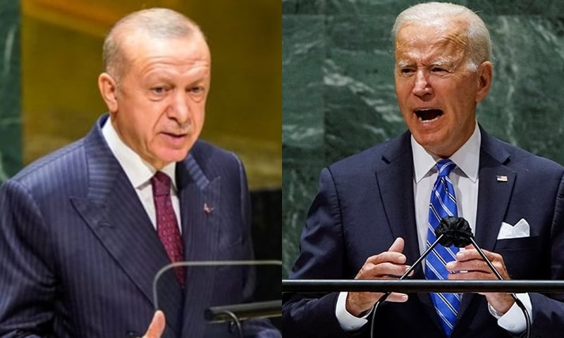 Turkish President Tayyip Erdogan (L) and US President Joe Biden address the 76th Session of the UN General Assembly in New York City, US, September 21. — Reuters