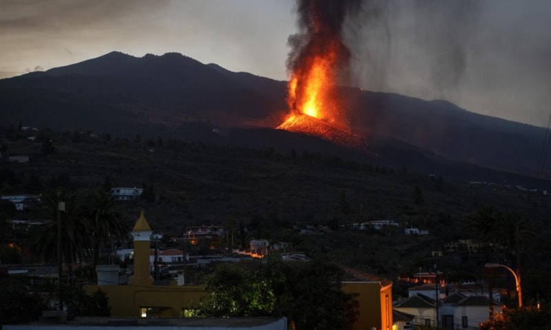 Lava from a volcano eruption flows on the island of La Palma in the Canaries, Spain, Sept 23. — AP