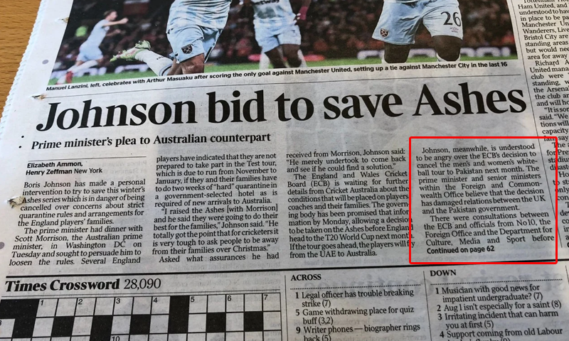 A clipping of The Times article.