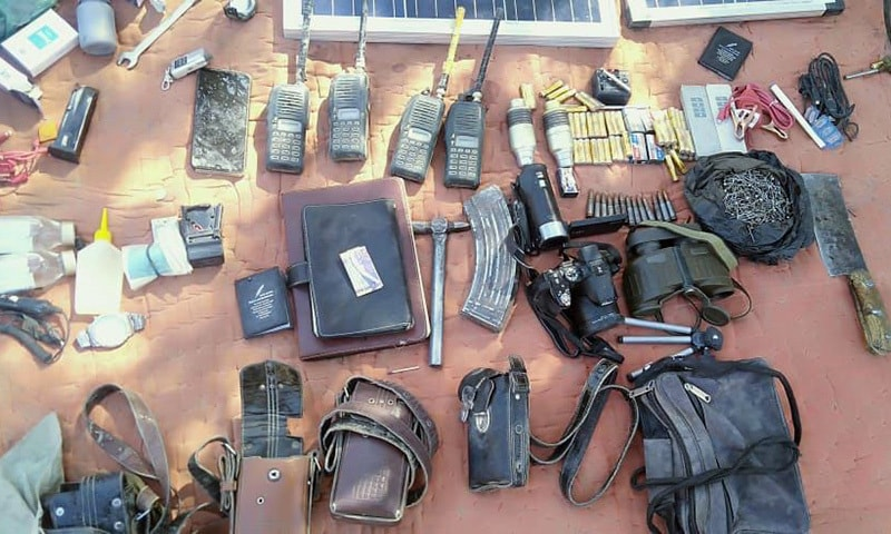 A large cache of arms and ammunition and other equipment was recovered from the terrorists' hideout. — Photo courtesy: ISPR