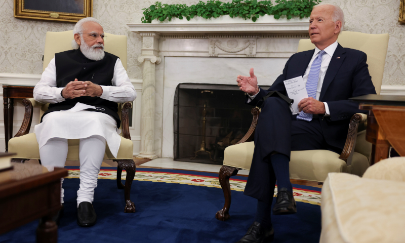 US President Joe Biden (R) meets with India's Prime Minister Narendra Modi (L) in the Oval Office at the White House in Washington, US, on Friday. — Reuters