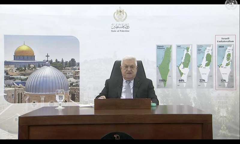 In this photo taken from video, Palestinian President Mahmoud Abbas remotely addresses the 76th session of the UN General Assembly in a pre-recorded message, Friday, at UN headquarters. — UN Web TV via AP