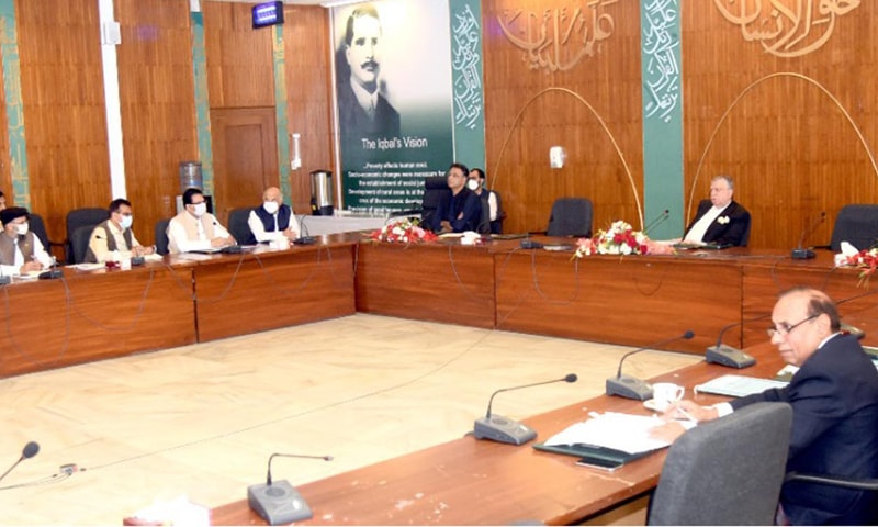 Finance Minister Shaukat Tarin presides over a meeting of the  Executive Committee of the National Economic Council in Islamabad on Friday. — Photo courtesy PID website