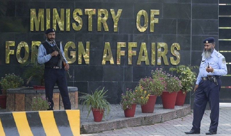 This file photo shows two security guards deployed outside the Foreign Office in Islamabad. — AFP/File