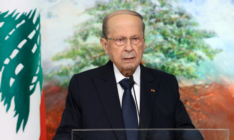 Lebanon's President Michel Aoun is seen in this handout picture released by Dalati Nohra on September 24, 2021, while addressing the United Nations General Assembly via a recorded video message in Baabda, Lebanon. — Reuters