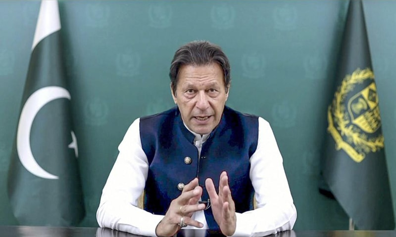In this image taken from video provided by UN Web TV, Imran Khan, Prime Minister Imran Khan remotely addresses the 76th session of the United Nations General Assembly in a pre-recorded message. — AP